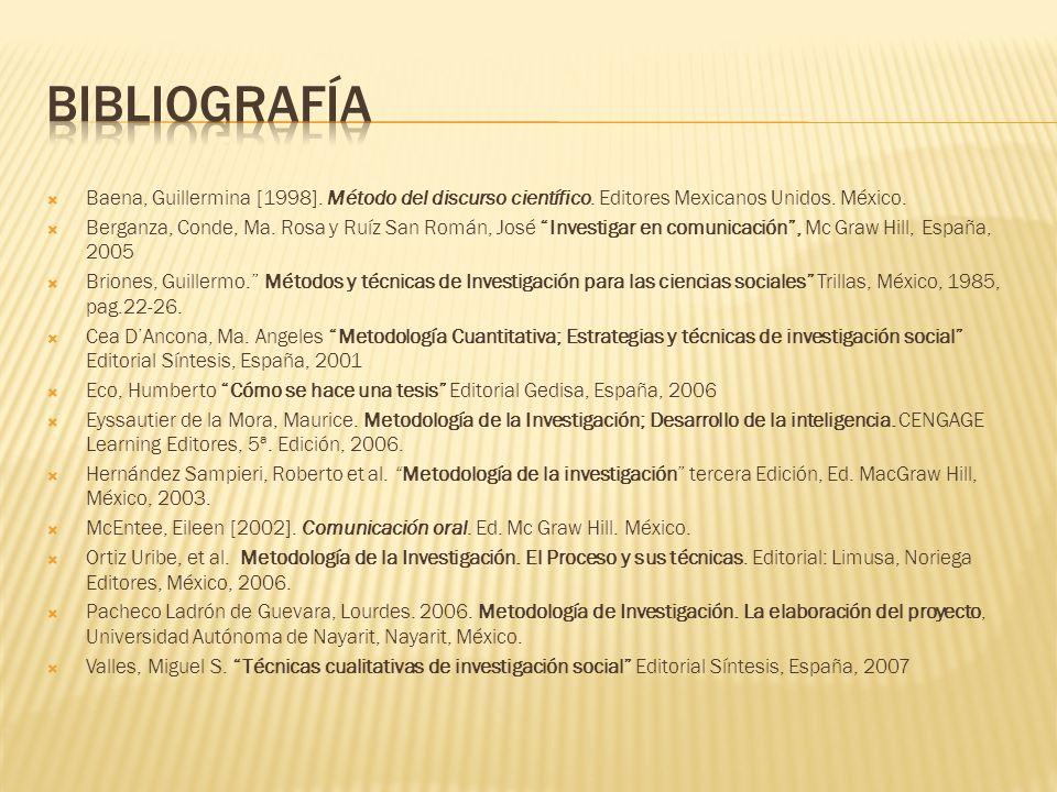 Bibliografía Baena, Guillermina [1998]. Método del discurso científico. Editores Mexicanos Unidos. México.